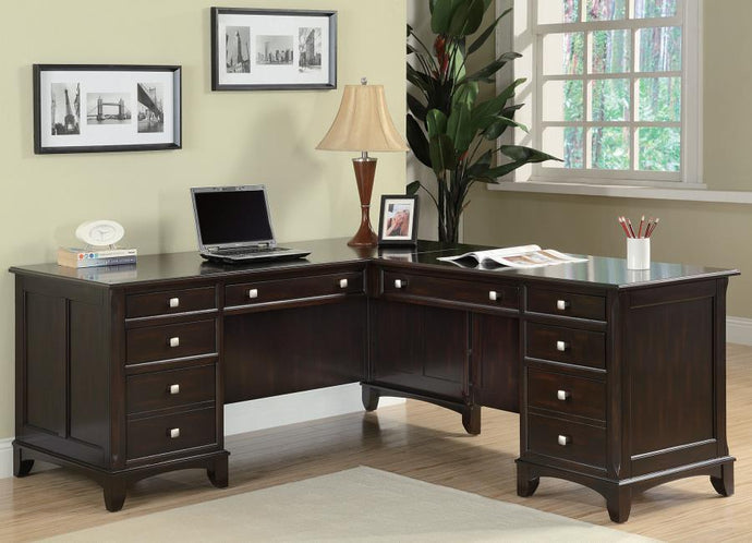 Coaster Garson L Shaped Walnut Office Desk with 8 Drawers