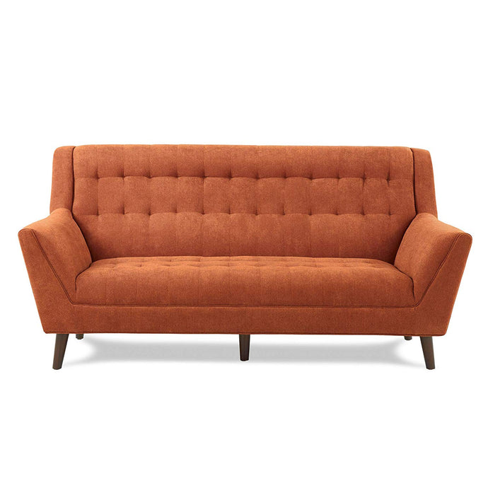 Erath Mid Century Modern Orange Fabric Tufted Sofa High Seatbacks