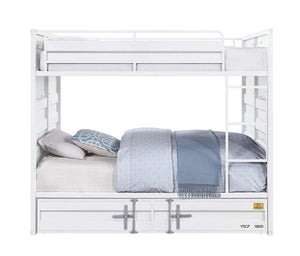 Acme Cargo White Metal Finish Twin Over Twin Bunk Bed With Trundle