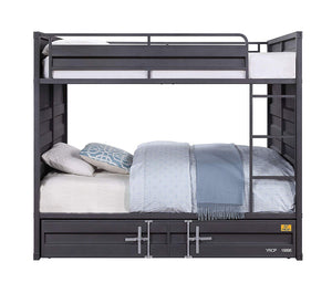Acme Cargo Gunmetal Metal Finish Twin Over Twin Bunk Bed With Trundle