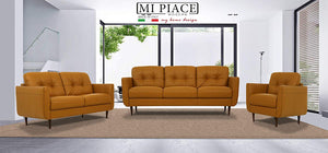 Acme Radwan Orange Leather Finish 3 Piece Sofa Set