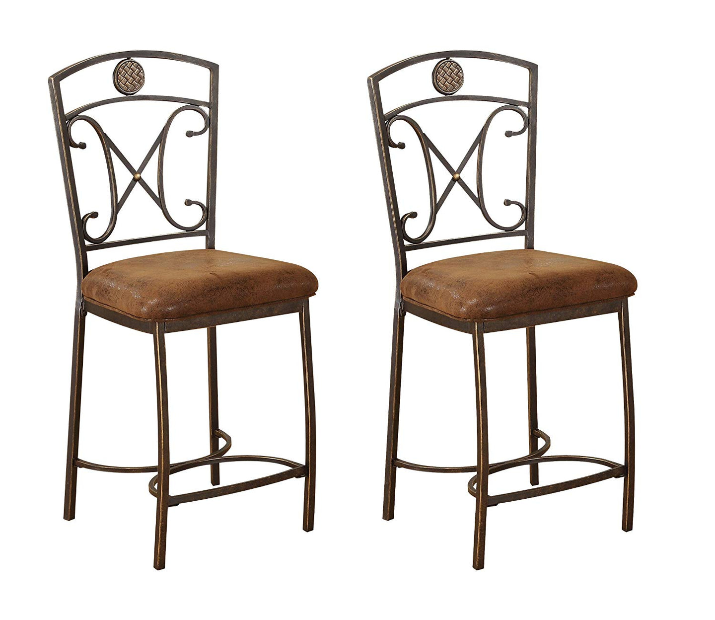 Acme Tavio Fabric Finish Antique Bronze 2 Piece Counter Height Dining Chair