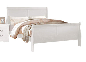 Acme Louis Philippe White Wood Finish Twin Sleigh Bed