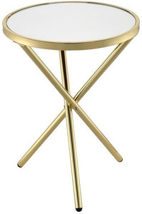 Acme Lajita Gold Mirror And Metal Finish Side Table