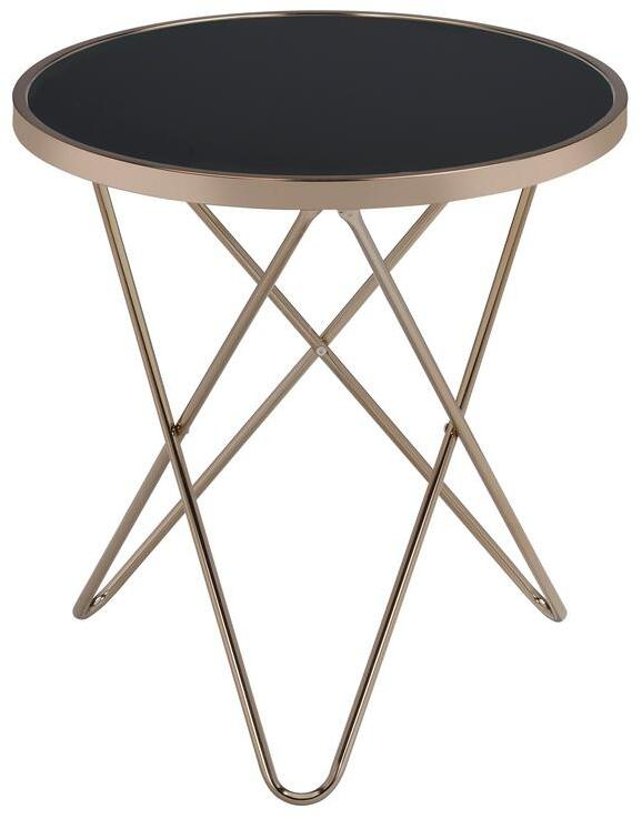 Acme Valora Black Glass Top And Champagne Finish End Table