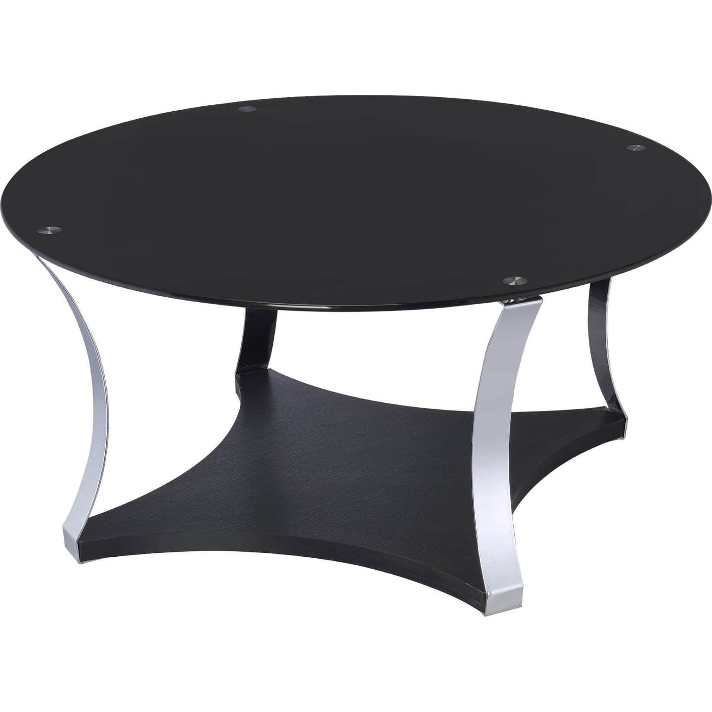 Acme Geiger Chrome Black Glass Coffee Table