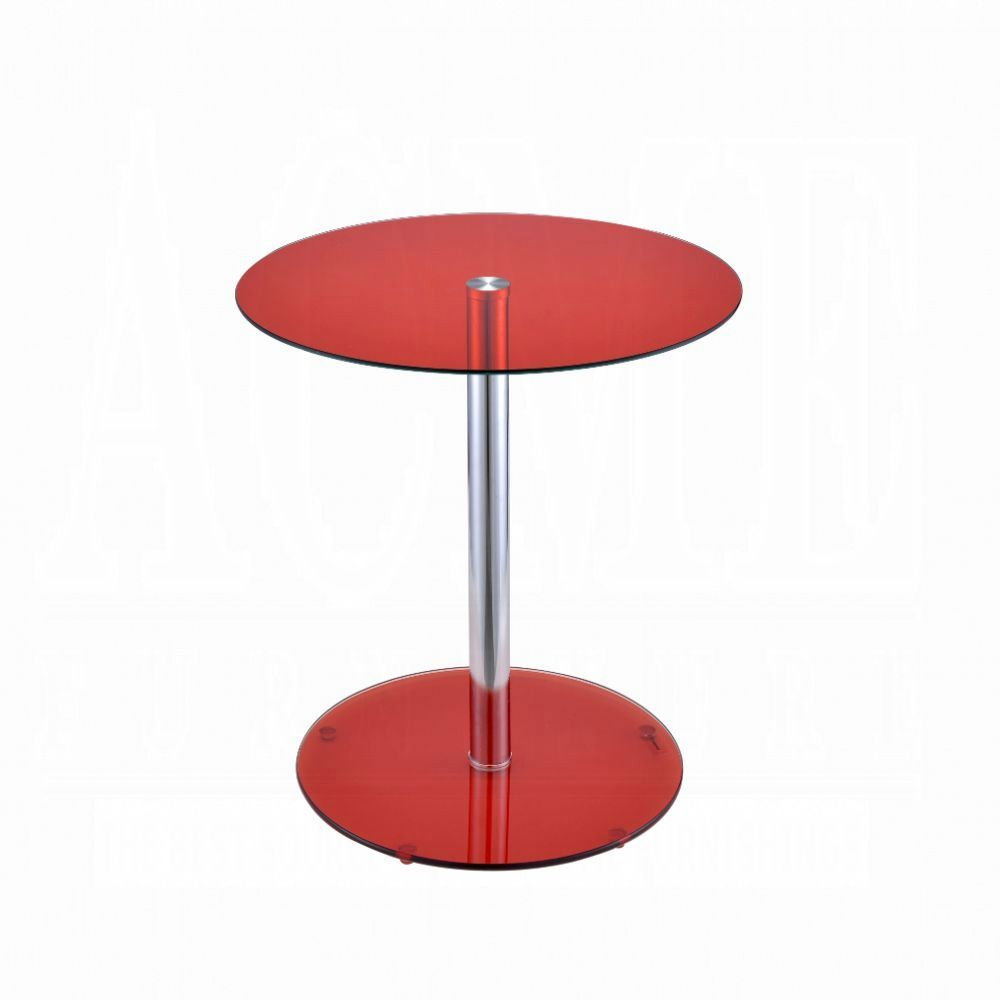 Acme Halley Red Glass Top And Chrome Finish End Table