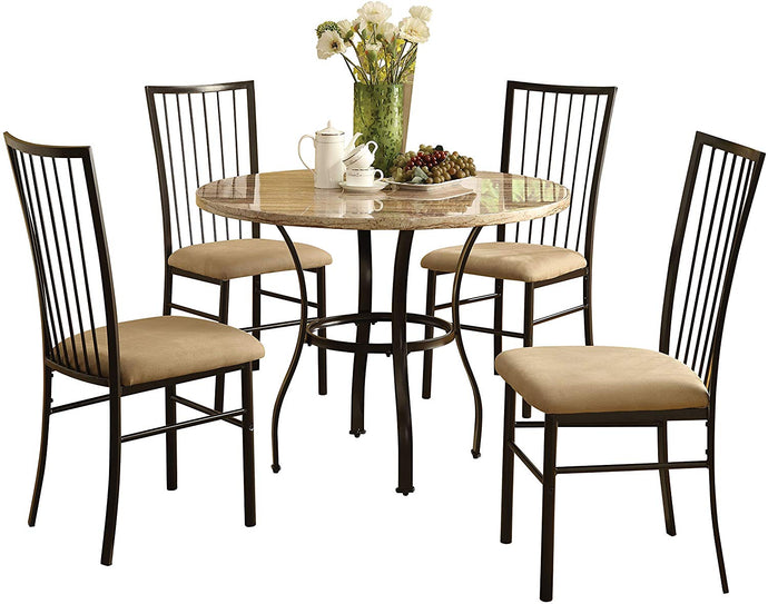 Acme Darell Faux Marble Black Metal 5 Piece Round Dining Table Set