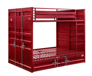 Acme Cargo Red Metal Finish Twin Over Twin Bunk Bed