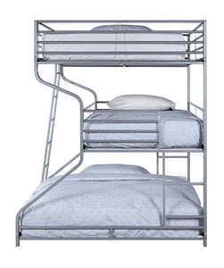 Acme Caius II Silver Metal Finish Twin Over Full Over Queen Bunk Bed