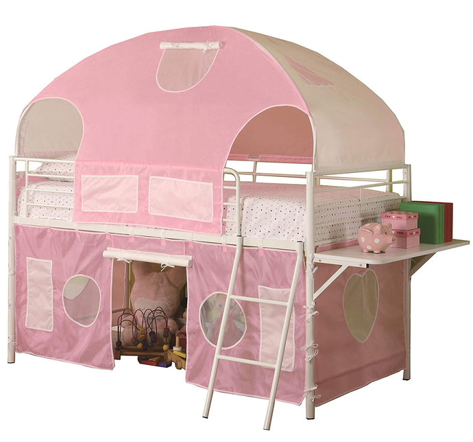 White Twin Loft Bed with Sweetheart Tent