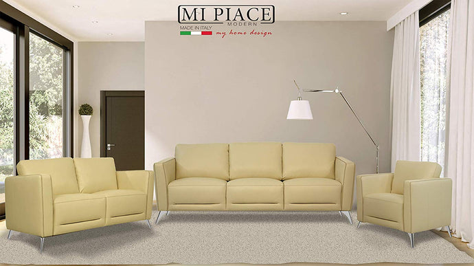 Acme Malaga Cream Leather Finish Vintage 3 Piece Sofa Set
