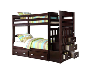 Acme Allentown Espresso Wood Finish Twin over Twin Bunk Bed with Stairs Trundle