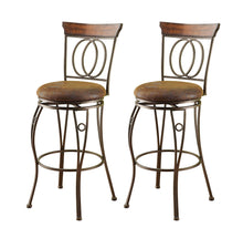 Load image into Gallery viewer, Acme Tavio Dark Bronze Fabric And Metal Finish 2 Piece Swivel Bar Stool