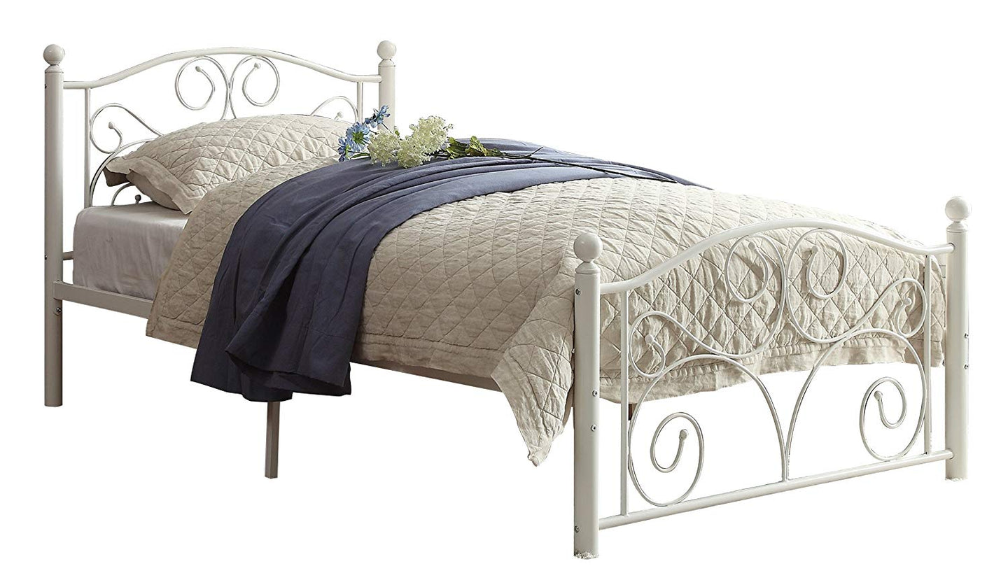Homelegance Pallina White Metal Finish Full Platform Bed