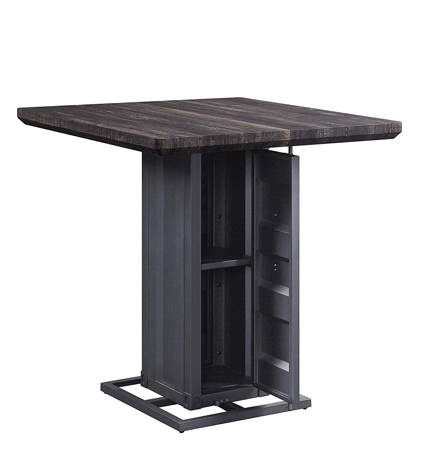 Acme Cargo Gunmetal Metal And Wood Finish Dining Table