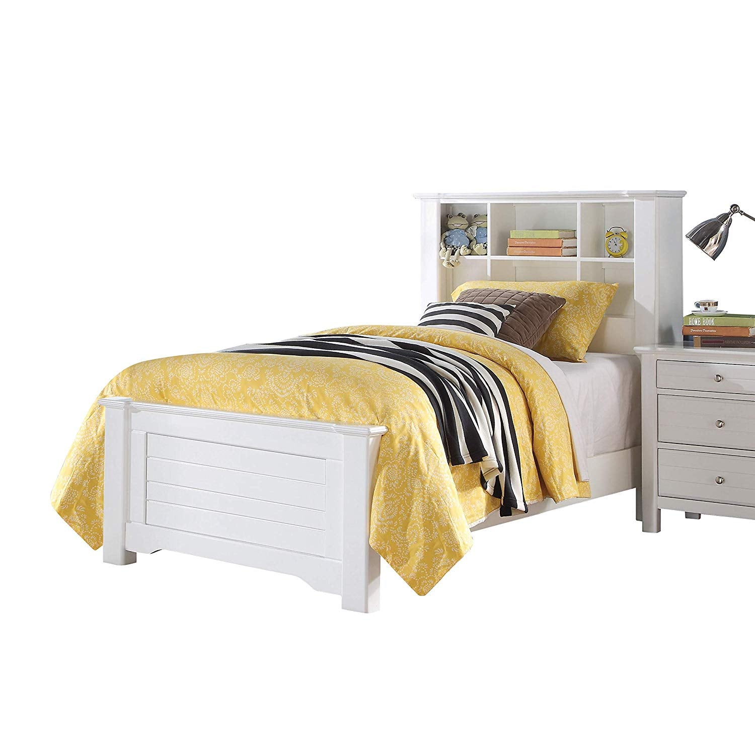 Acme 30415f Mallowsea White Bookcase Headboard Full Storage Bed
