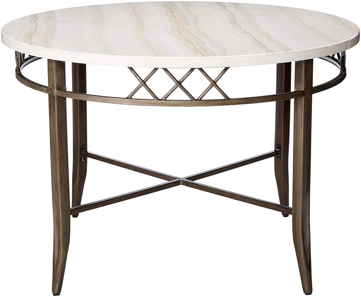 Excellent Acme 73000 Aldric Faux Faux Marble Antique Black Metal Dining Table Pdpeps Interior Chair Design Pdpepsorg