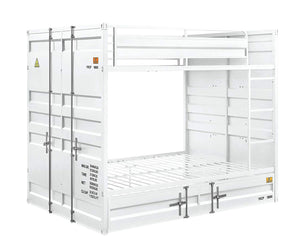 Acme Cargo White Metal Finsh Full Over Full Bunk Bed With Trundle
