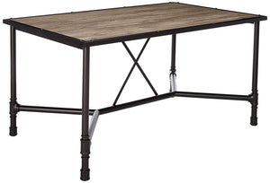 Acme Caitlin Rustic Oak Black Metal Dining Table