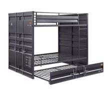 Load image into Gallery viewer, Acme Cargo Gunmetal Metal Finish Twin Over Twin Bunk Bed With Trundle