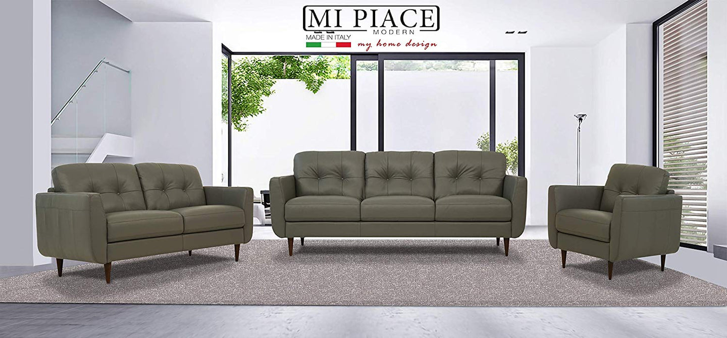 Acme Radwan Pesto Green Leather Finish 3 Piece Sofa Set