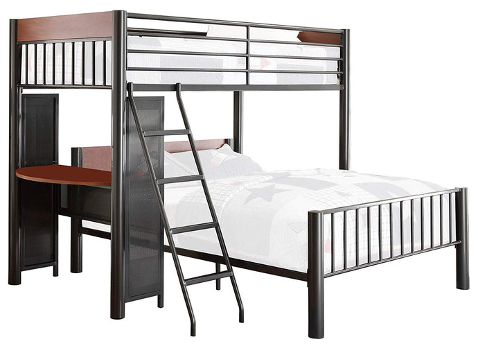 Homelegance Division Black Metal Finish Twin Over Full Loft Bed