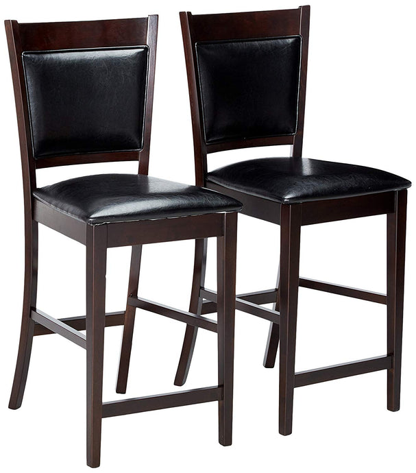 Coaster Vinyl Padded Espresso Counter Height Stool Set of 2
