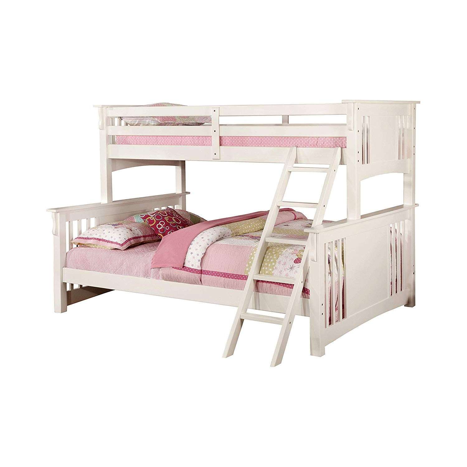 Furniture Of America Cm Bk604wh Spring Creek Transitional Mission White Twin Over Queen Bunk Bed Flatfair