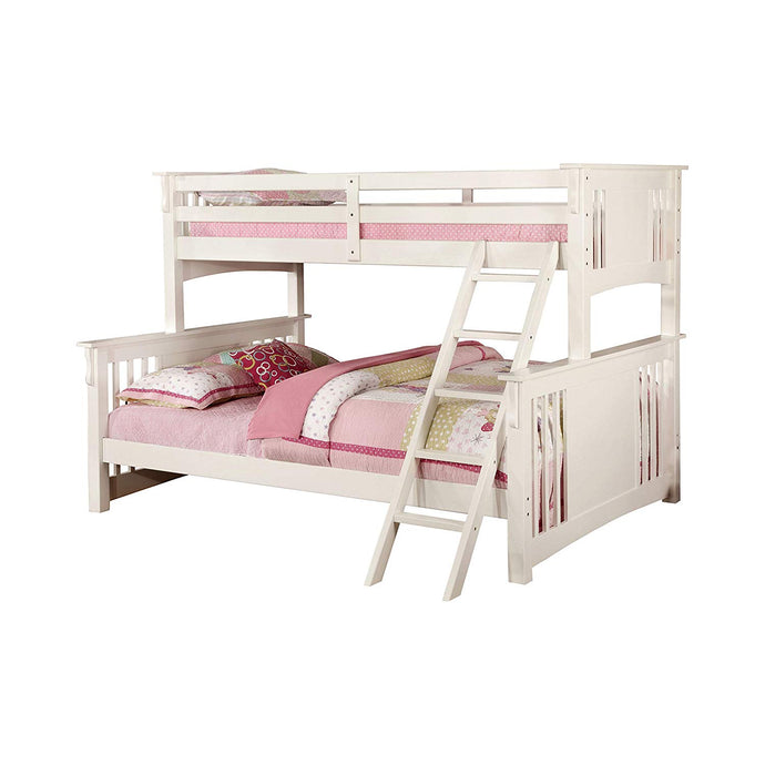 Furniture of America Spring Creek Mission White Twin over Queen Bunk Bed