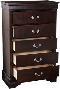 Coaster Louis Philippe Cappuccino 5 Drawers Chest with Silver Bails
