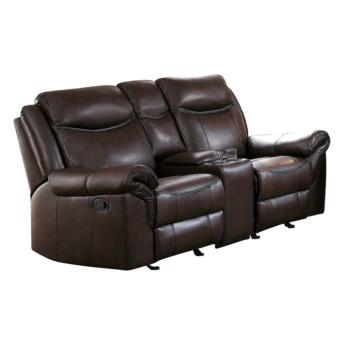 Aram Dark Dark Brown AireHyde Tufted Double Glider Reclining Loveseat