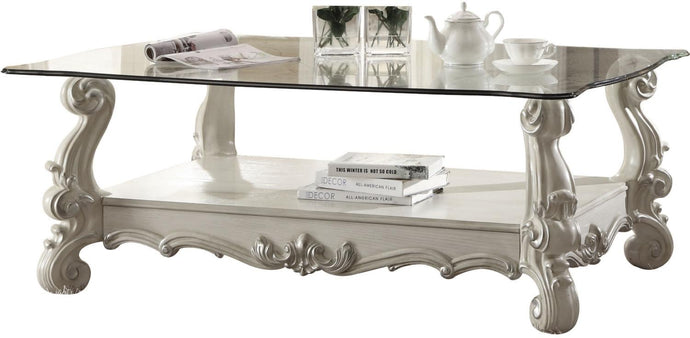 Acme 82103 Versailles Bone White Clear Glass Coffee Table