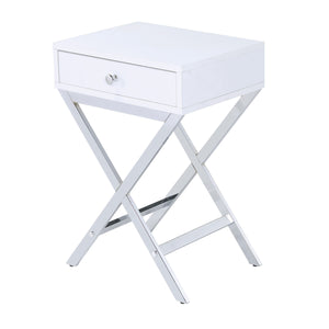 Acme Coleen White And Chrome Metal Finish Side Table