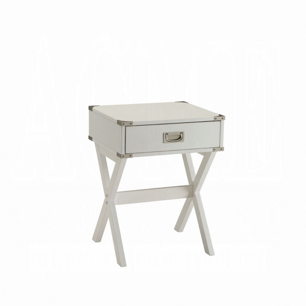 Acme Babs White Wood Finish End Table