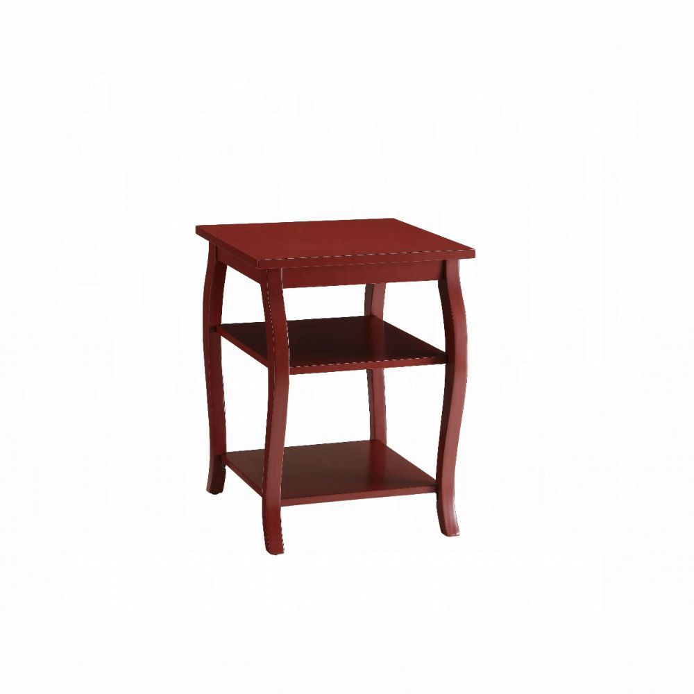 Acme Becci Red Wood Finish End Table