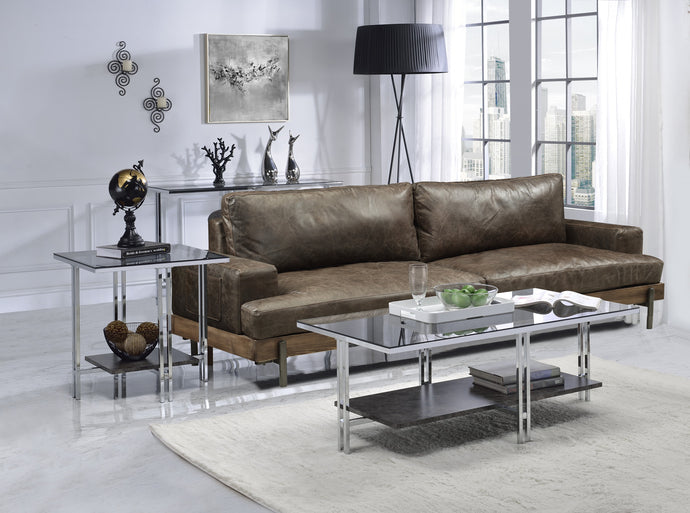 Acme Liddell Chrome And Glass Finish 3 Piece Coffee Table Set