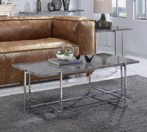 Acme Adelae Chrome Metal Finish 3 Piece Coffee Table Set
