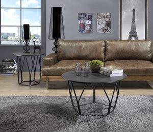 Acme Sytira Black Metal And Wood Finish 3 Piece Coffee Table Set