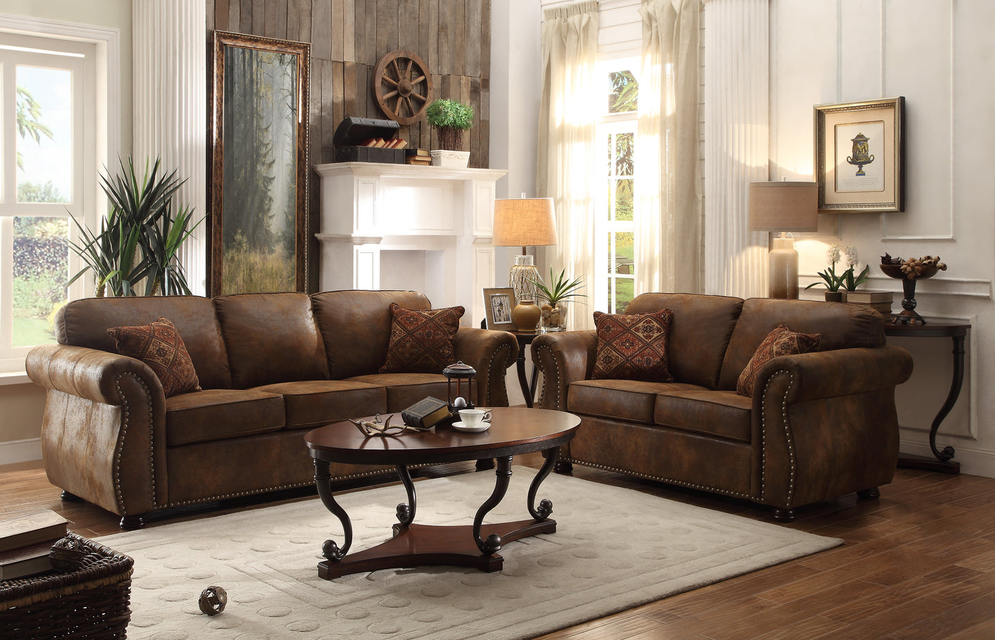 Homelegance Corvallis Brown Microfiber Finish 2 Piece Sofa Set