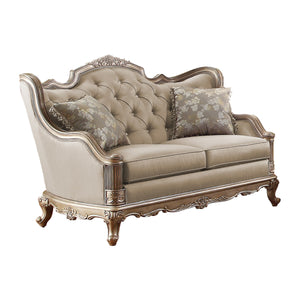 Homelegance Fiorella Taupe Faux Silk And Wood Finish Loveseat