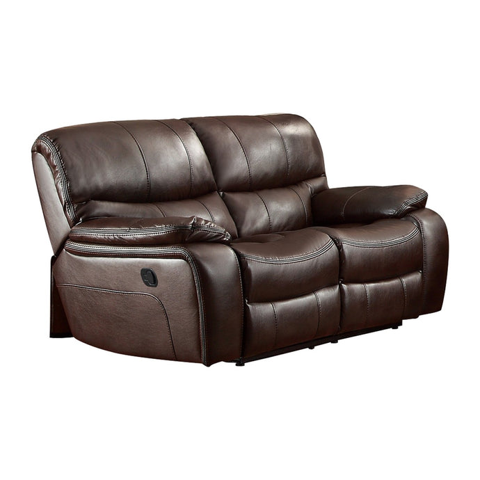 Pecos 8480BRW-2 Modern Brown Leather Match Double Reclining Loveseat