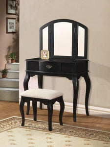 Acme Maren Black Drawer Vanity Set Tri-Fold Mirror Stool