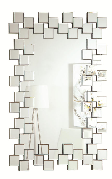 Contemporary Style Decorated Edges Accent Mirror