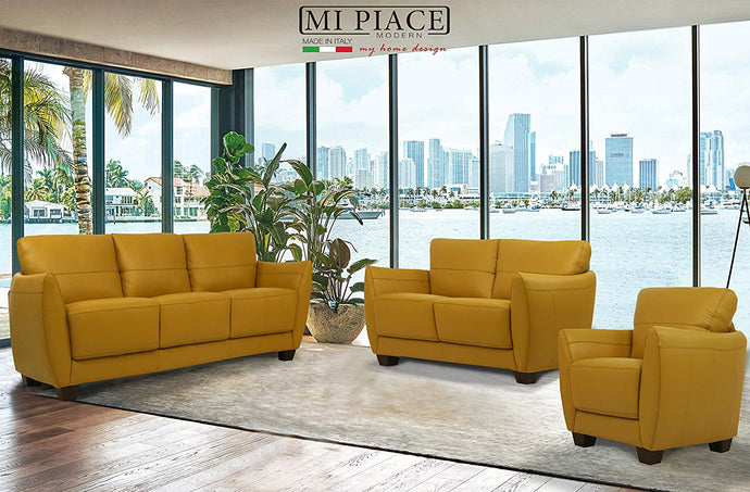 Acme Valeria Yellow Leather Finish Contemporary 3 Piece Sofa Set