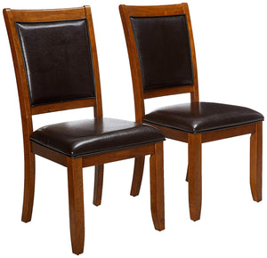 Coaster Walnut Upholstered Seat Back Dining Side Chair Set of 2