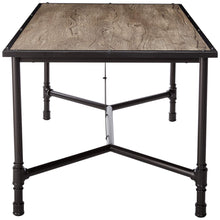 Load image into Gallery viewer, Acme Caitlin Rustic Oak Black Metal Dining Table