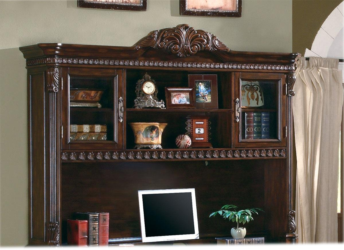 Rich Brown Wood Finish Computer Hutch