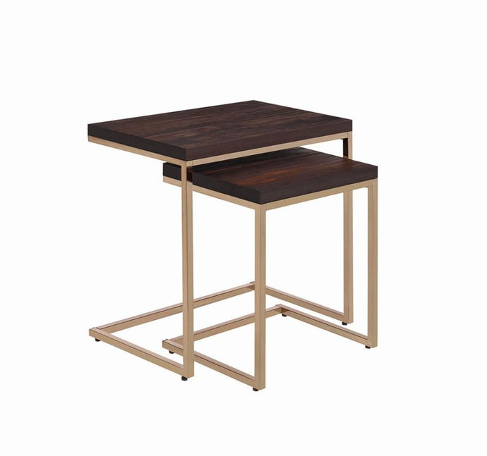 Coaster Chestnut Wood And Gold Metal Finish 2 Piece Nesting Table