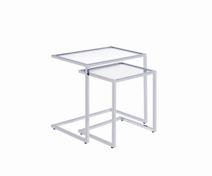 Coaster Silver Glass And Metal Finish 2 Piece Nesting Table